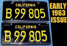 EARLY 1963 CA CALIFORNIA COMMERCIAL LICENSE PLATE DMV CLEAR 63-1972 PICKUP TRUCK