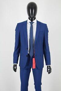 HUGO BOSS ANZUG, Mod. Henry/Griffin182, Gr. 90, Slim Fit, Super 100, Bright Blue
