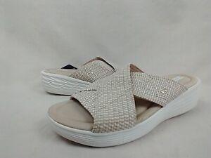 Ryka Nadine Tender Taupe Stretch Cross Slide Sandals Women's Size 39 EU 9 M US