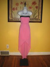 NWT!  bebe 2b Patrice Pink Hi-Lo Strapless Maxi Dress Size S