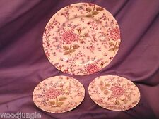 3 Vintage JOHNSON BROS BROTHER ROSE CHINTZ PLATES ENGLAND DINNER BREAD & BUTTER