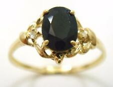 FINE 10KT YELLOW GOLD OVAL SAPPHIRE & DIAMOND RING  SIZE 7    R1326