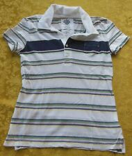 Old Navy Polo Shirt Top White with Stripes Collar - Size XS