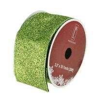 """Shimmering Lime Green Solid Wired Christmas Craft Ribbon - 2.5"""" x 10 Yards"""