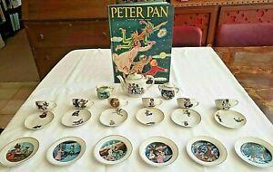 DISNEY Vintage 1950 Rare Marx PETER PAN Tea Set 23 MINT PORCELAIN Pieces