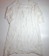 Vintage Ivory Chiffon Beach Kaftan Dress Size 16-18 Summer Holiday Embroidered