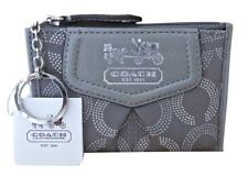 New Coach Madison Gray Dotted Signature Coin Purse Mini Skinny Keychain 44439