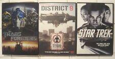 3 Dvd Sci Fi Film Set * District 9 & Star Trek & Transformers