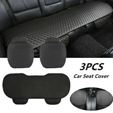 3Pcs Black PU Leather Car SUV's Interior Seat Cover Front Rear Seat Cushion Kit