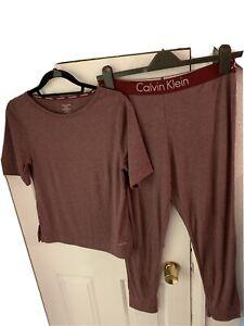Calvin Klein Ladies 2 Piece Burgundy Pyjamas Small