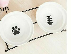 Dog Cat Bowl Raised Double Ceramic +metal Stand Pet Feeding Station RRP: £26.99