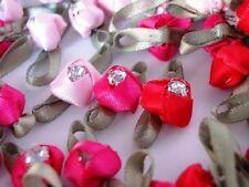 36 Pink+Red Satin Ribbon Rose Flower Crystal Rhinestone Jewel Trim/Craft/Bow F52