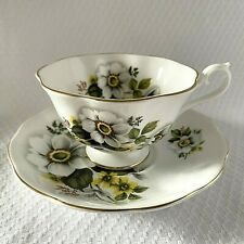 Royal Albert Teacup & Saucer White Yellow Wild Rose Floral Bone China Footed Cup