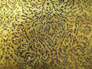 BARGAIN ROLL END 3 METRES LUXURY GOLD LEOPARD THEME VELVET UPHOLSTERY FABRIC