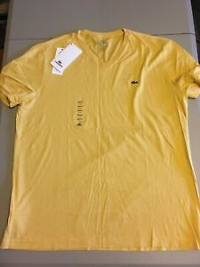 Mens Lacoste T-Shirt V Neck Pima Cotton SS Regular Fit Tee Lacoste Yellow Size 6
