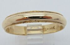 14k Yellow Gold 3.8mm  Wedding Band with  Beaded Edge Ring Size 9.75
