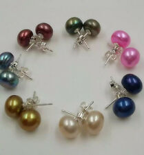 Wholesale Free P&P AA 7 pairs  8-9 mm multicolor pearl stud earring 925 silver