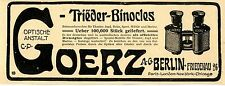 Trieder- Binocles Dienstglas Goerz-AG. Berlin Friedenau Historische Werbung 1907