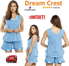Plus Size,Women's Pajama Short Set with Satin Trim and Embroidery,3X,Turquoise
