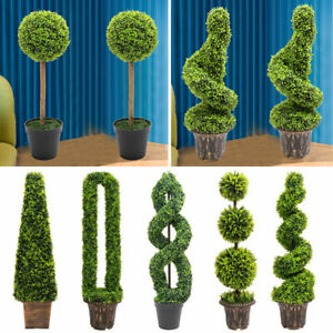 1x 2x LARGE Floor Plants Artificial Ball Plant Boxwood Tower Tree Topiary Potted