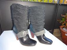FOSSIL Damen Schuhe Stiefel Leder Wildleder Schwarz Grau Gr.40 Neu