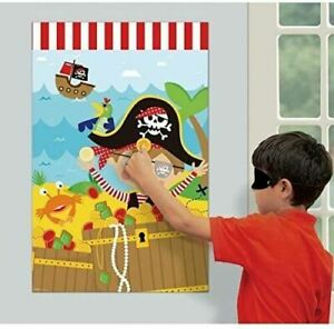 Little Pirate Caribbean Buccaneer Cute Kids Birthday Party Activity Pin Game