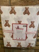 Pottery Barn Kids Teddy Bear Organic Full Size Sheet Set Holiday Christmas New