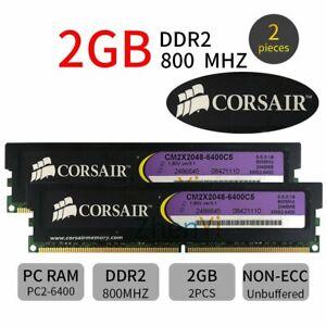 CORSAIR 4GB 2x 2GB DDR2 800MHz PC2-6400U 240Pin DIMM Desktop intel PC Memory RAM