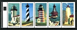 US 1990 Sc#2474a: 25c LIGHTHOUSES, BOOKLET PANE OF 5, MNH - FREE SHIPPING