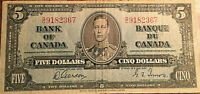 1937 CANADA 5 DOLLARS BANK NOTE - S/C - Gordon / Towers