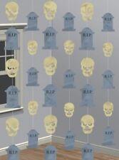 6 Halloween Skulls & Gravestones Party 7ft String Decorations