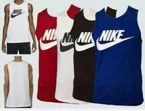 Genuine Nike Men's Sleeveless Vest Tank Top 100% Cotton Lux Gym. WHITE £14.99 EA