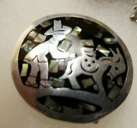 VINTAGE MEXICO 925 STERLING SILVER ABOLONE BROOCH / PENDANT PERSON DONKEY SIGNED