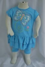 Sam and George 2 Piece Outfit Blue Infant Girls Butterfly Short Sleeve 12 Month