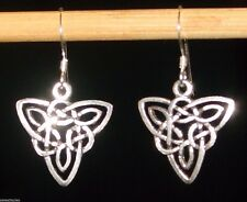Earrings, Triad Triquetra Knot Trinity, 925-Sterling-Silver Celtic NWT, 1-3 8 #034;
