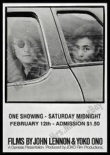 1971 FILMS BY JOHN LENNON & YOKO ONO ORIGINAL Movie Poster - Beatles! JOKO FILMS