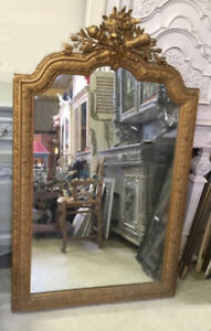 SUPERB FRENCH ANTIQUE CRESTED ROCOCO STYLE GILDED MIRROR - c.1900