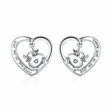 Sterling Silver Enamel Cow Dangle Stud Post Earrings