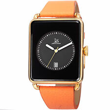 New Men's Joshua & Sons JS95YGBR Quartz Rectangular Date Orange Leather Watch
