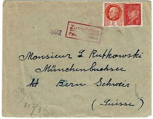 France 1943 Tamaris cancel on cover to Polish internee in Switzerland