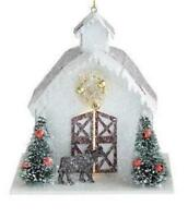 """4.75"""" Tall White Paper Barn Christmas Village Ornament with Gold Wreath Star"""