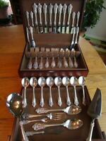 PERFECT* WALLACE GRANDE BAROQUE STERLING SILVER FLATWARE SET-S-8+SERVERS EXCL***