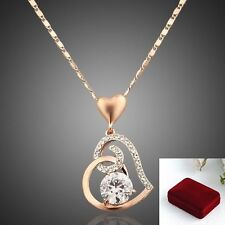 Valentines Day GIFT Birthday 18K GOLD PLATED HEART PENDANT NECKLACE w GIFT BOX