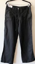 Linen Black Trousers 10 Wide Leg Tie Waist Zip Summer Boho Work Denim Co
