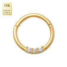 14K REAL Solid Gold Cubic Zirconia Ear & Nose Hoop Ring Piercings 18 Gauge