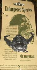 "New Orangutan Large Pewter Endangered Species Pin Brooch Ape Animal Vtg 1.5x2"""