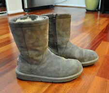 UGG Australia ROSLYNN #1889 Mid Calf Side Zip Women's Gray Sheepskin Boots Sz 5