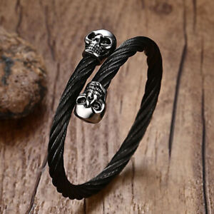 Top Quality Cool Mens Skull Stainless Steel Cable Cuff Adjustable Biker Bracelet