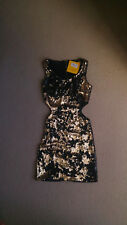 New look black and gold cut out side, sequin bodycon dress, size 8