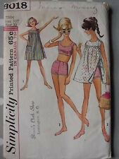 60s Vtg Bikini & Beach Dress Simplicity 4457 Sewing Pattern B 30 Teen 10